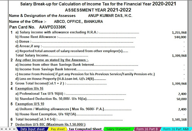 Income Tax Calculator for the W.B.Govt Employees