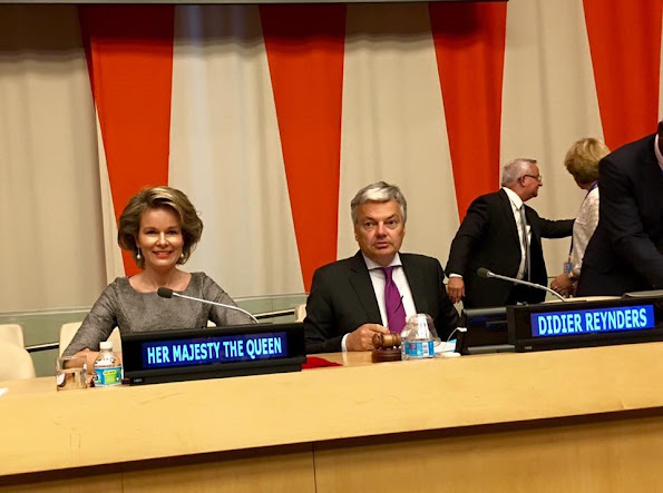 Queen Mathilde met with UN Secretary-General Ban Ki-moon.  Children, Not Soldiers - United Nations conference, New York. Queen wore Natan Dress