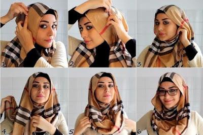 Tutorial hijab tumpuk dua warna