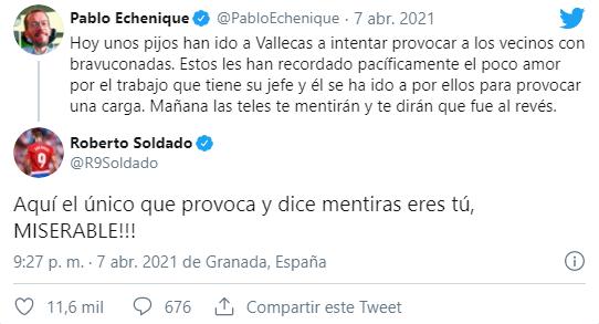 Roberto Soldado contesta a Pablo Echenique por aplaudir los actos violentos de Vallecas