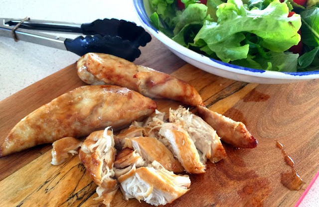 Juicy chicken tenderloins marinated in teriyaki sauce and quickly cooked in the Philips Airfryer