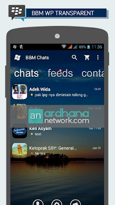 Preview BBM Windows Phone Transparant