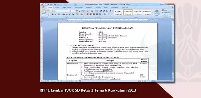 RPP 1 Lembar PJOK SD Kelas 1 Tema 6 Kurikulum 2013