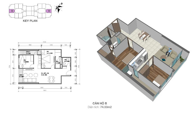Thiết kế căn hộ B 74m2
