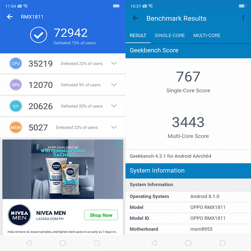 Realme C1's AnTuTu and Geekbench benchmark scores