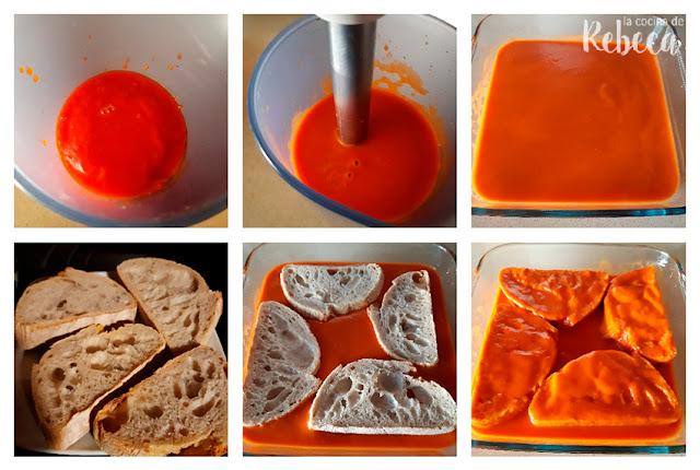 Receta de torrijas de tomate con polvo de jamón: remojado del pan