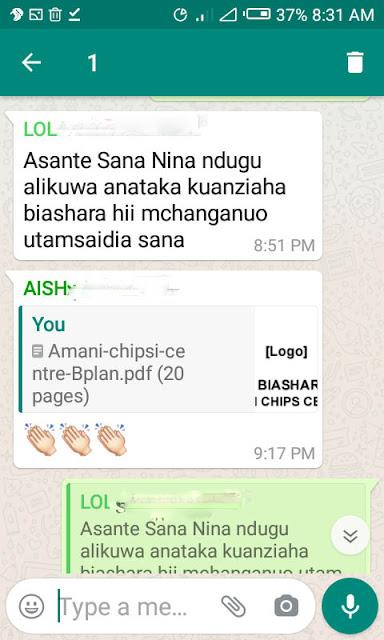 shuhuda za wadau somo la mpango wa biashara ya chipsi