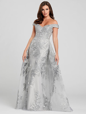 Ellie Wilde Off-shoulder Silver Color Prom Dress