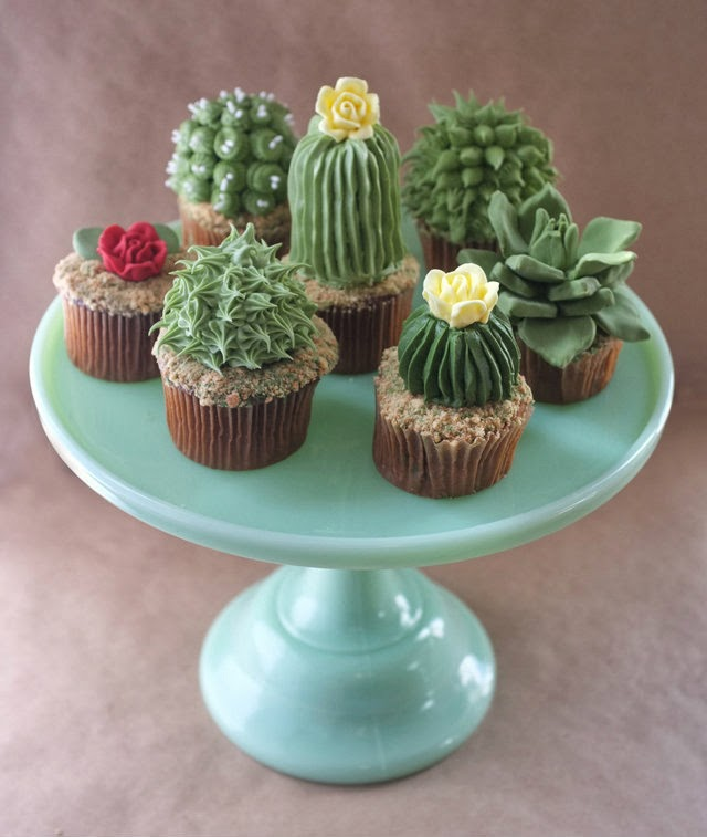 image recipe diy cactus cupcakes plants
