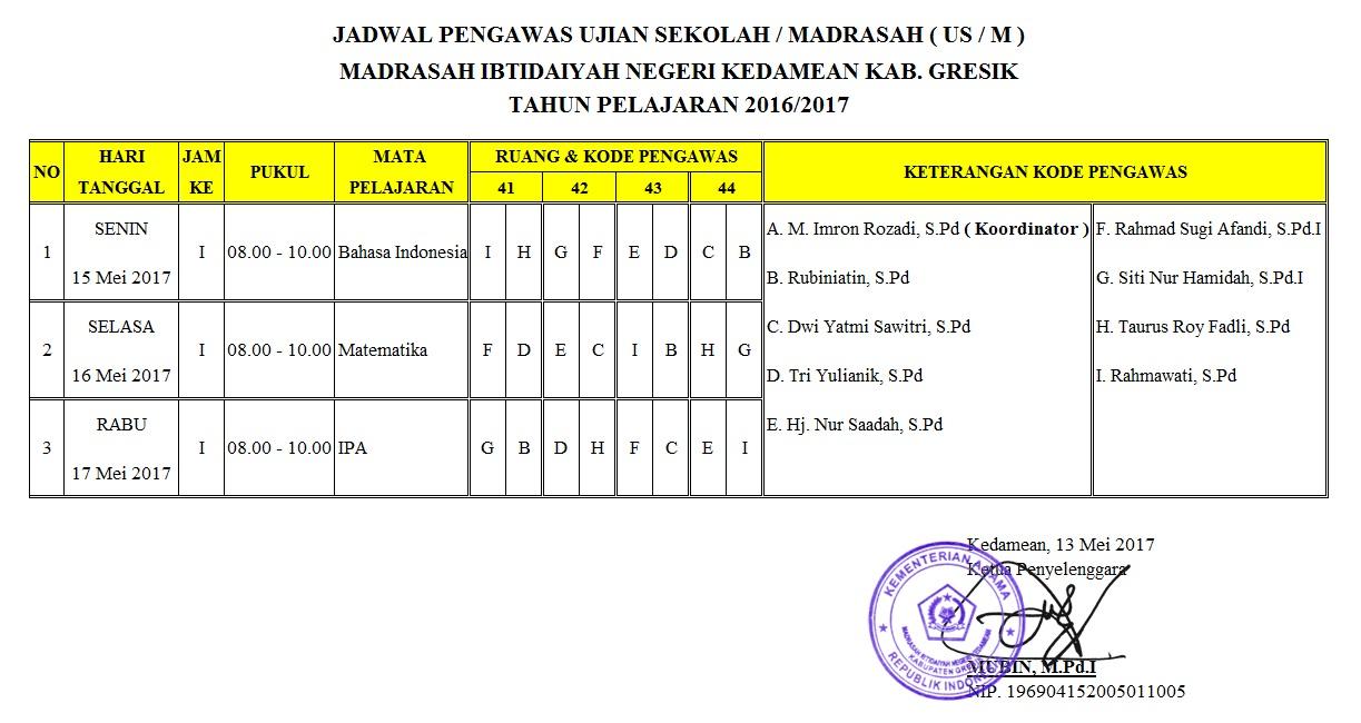 Jadwal Ujian Sekolah/Madrasah (USM) Tahun Pelajaran 2016/2017