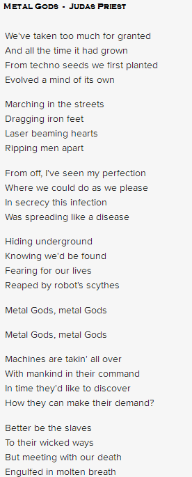 letra Metal Gods judas priest