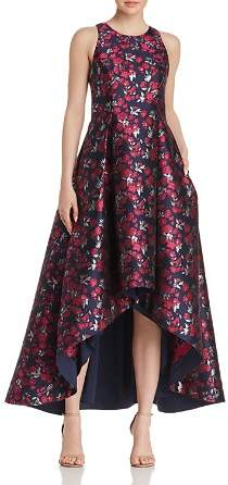 Aidan by Aidan Mattox Floral Jacquard High/Low Ball Gown