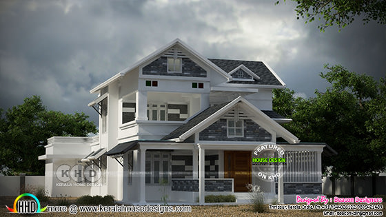Double storied sloping roof house with 3BHK