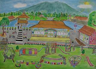 sketsa gambar suasana bermain di halaman sekolah www.simplenews.me