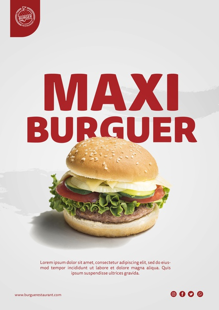 Burger advertisement template with photo Free Psd