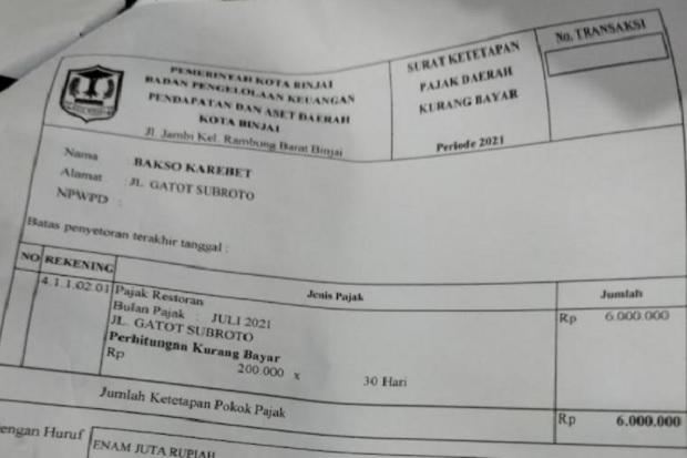 PKL di Binjai Pusing Terkaget-kaget Dapat Tagihan Pajak Rp6 Juta Per Bulan
