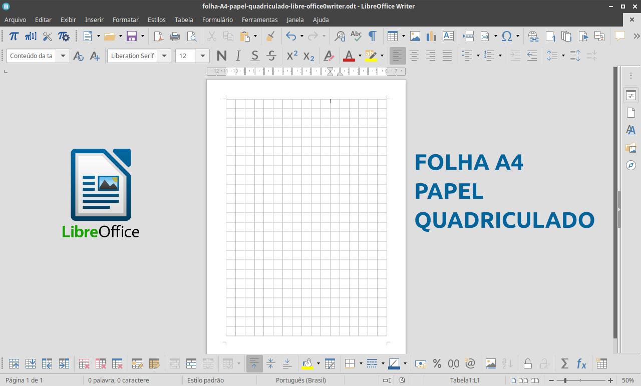 Crie folhas A4 de papel quadriculado para imprimir com o LibreOffice Writer