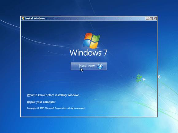 Cara instal windows 7 - Install Now