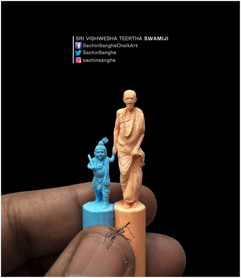 Self-taught Indian artist carves miniature sculptures from tiny Chalk