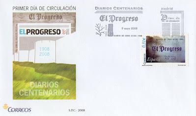 filatelia, sello, matasellos, PDC, Lugo, Progreso, diario, periódico