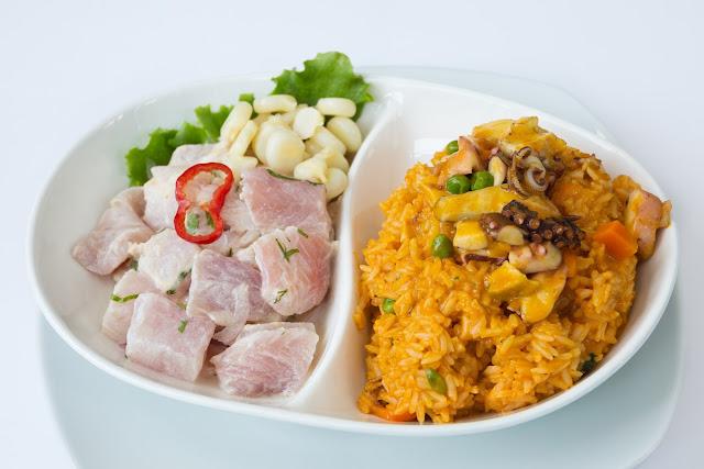 ceviche + arroz con mariscos