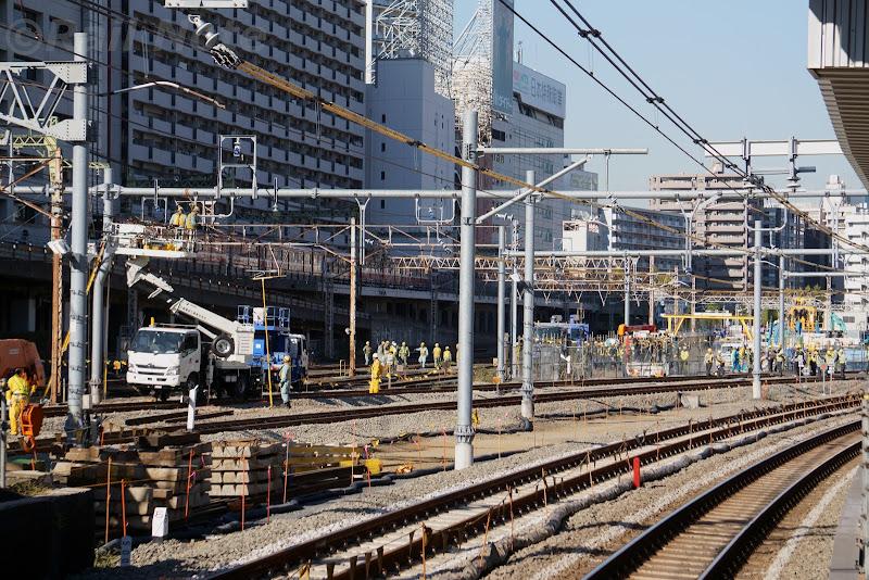 田町駅寄りの工事の様子