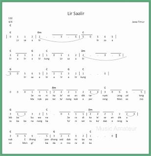 not angka lagu lir saalir lagu daerah jawa timur