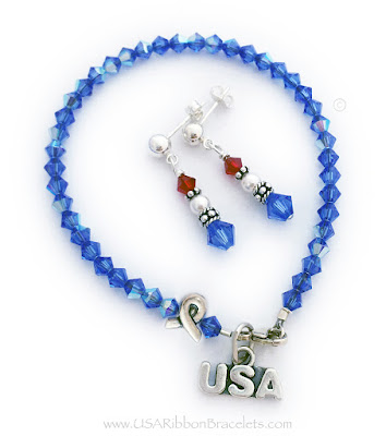 Red White and Blue Ribbon Bracelet with a USA Charm and coordinating earrings.