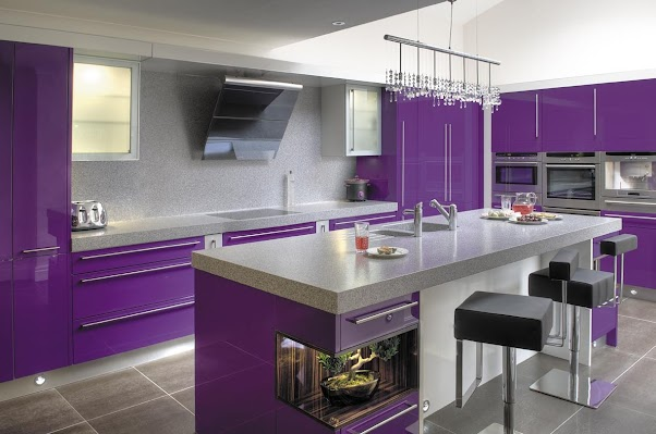 Desain Dapur Modern Elegant Mewah Purple 03