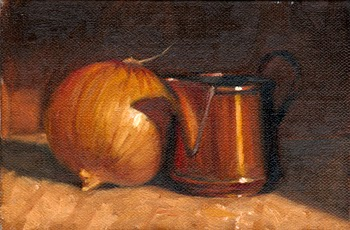 Oil painting of a brown onion beside a small copper jug.