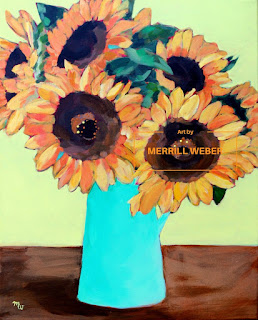 Sunflower painting Sunny Day by artist Merrill Weber acrylic on canvas, framed and ready to hang