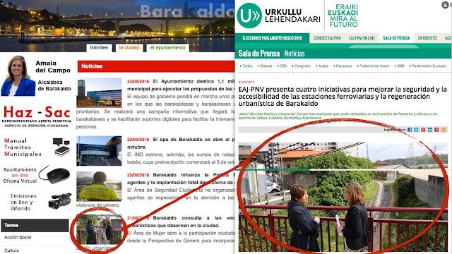 La web del PNV y del Ayuntamiento comparten una imagen de campaña electoral de la alcaldesa