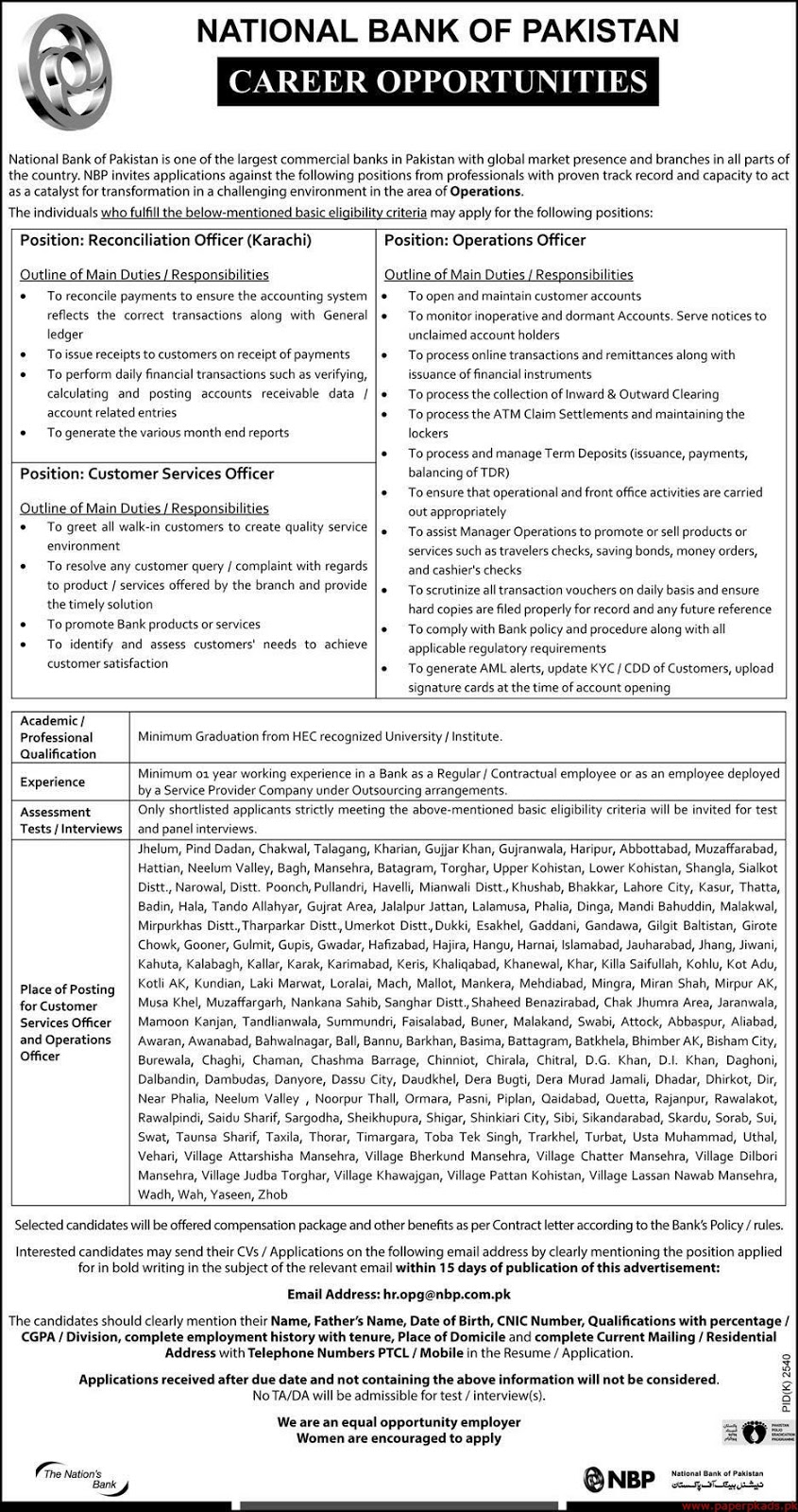 NBP Bank Jobs for Reconciliation Officer