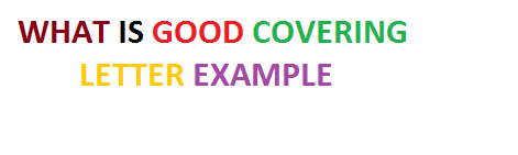 What is Good Cover letter Examples