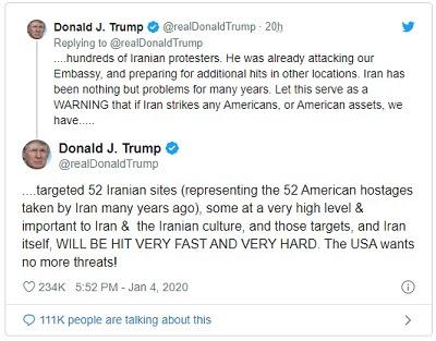 Trump amenaza con atacar 52 objetivos iraníes si Teherán toma represalias
