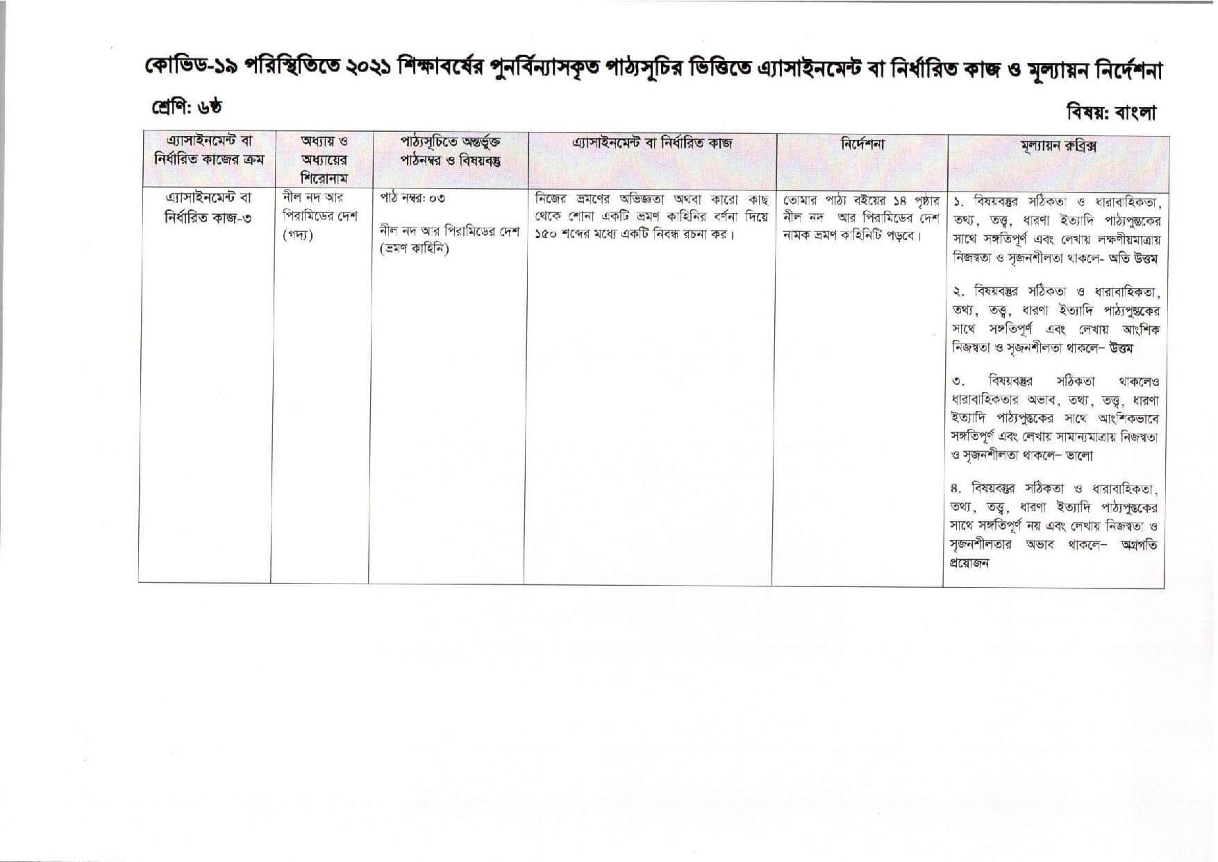 9th Week Class 6 Assignment 2021 Bangla
