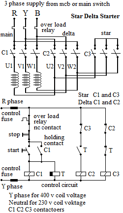 Basic Electronics and Electrical tutorials  Star    Delta    Starter Principle    Circuit       Diagram    and