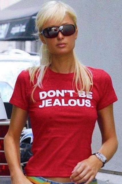 """Paris Hilton """"DON'T BE JEALOUS"""" T-shirt.  PYGear.com"""