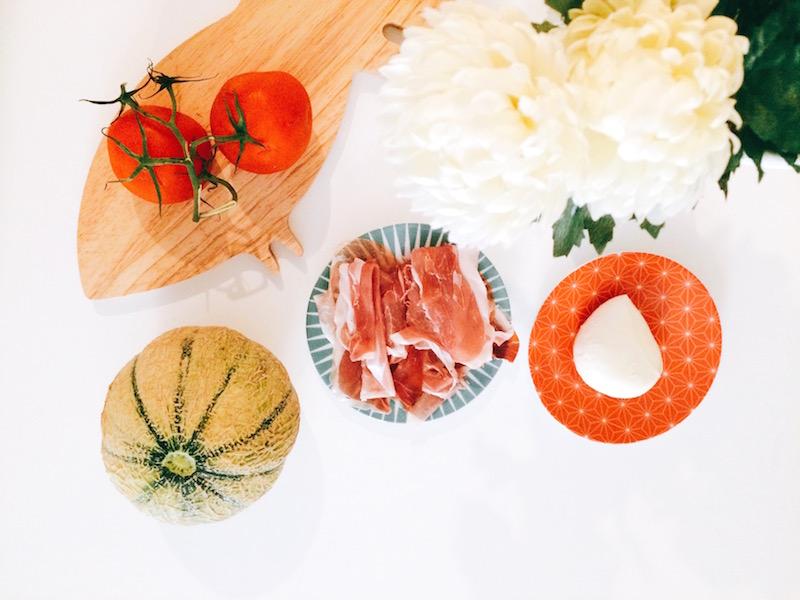 melon, mozzarella, jambon de bayonne, tomate