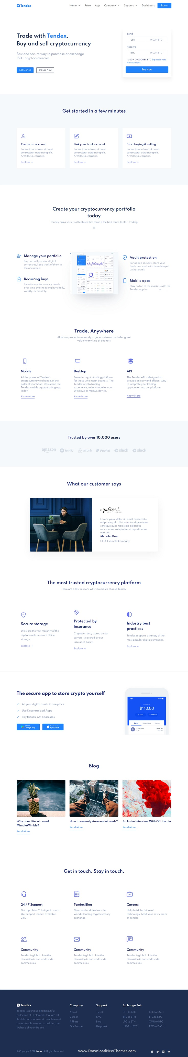 Cryptocurrency Exchange HTML Template + Dashboard