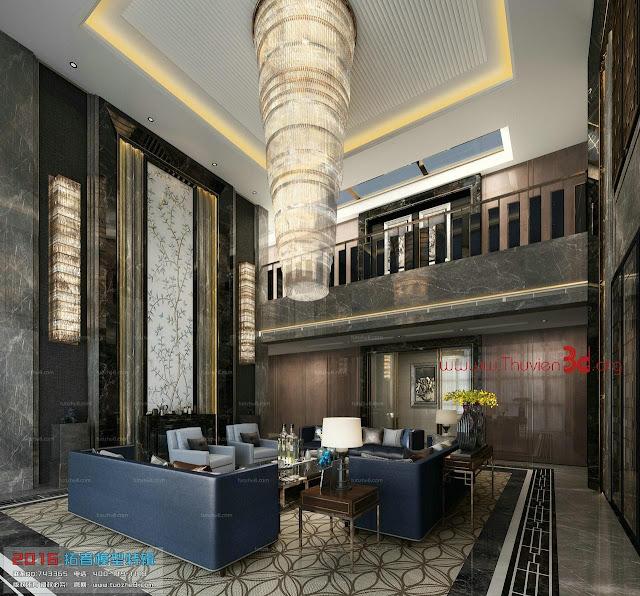 Thư viện 3D phòng khách phong cách Á Đông