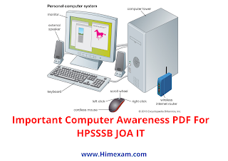 Important Computer Awareness PDF For HPSSSB JOA IT