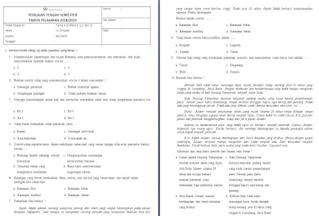 Soal PAS Kelas 4 SD/MI: Tema 5