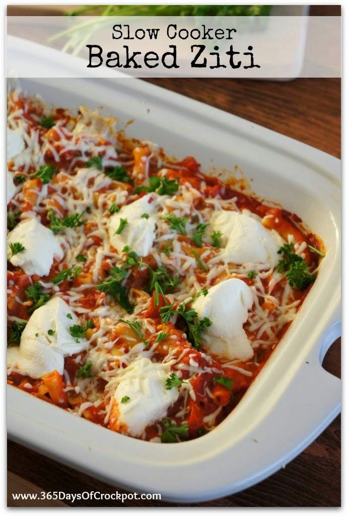 Slow Cooker Baked Ziti Recipe with Pepperoni from 365 Days of Slow Cooking found on SlowCookerFromScratch.com