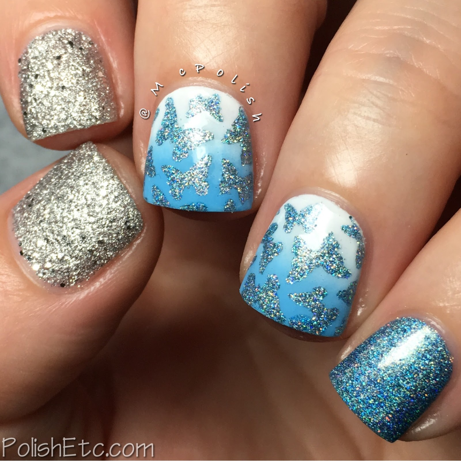 Wintry butterfly skittlette manicure by McPolish