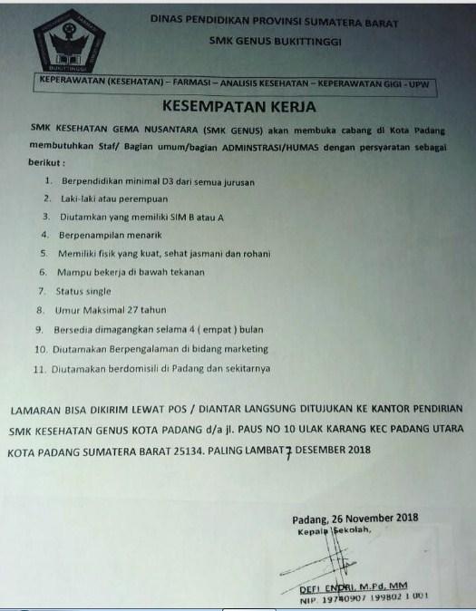 Lowongan Kerja SMK Genus Bukittinggi Area Cabang Padang