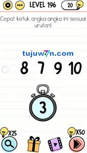 level 196 brain test cepat ketuk angka-angka ini sesuai urutan!