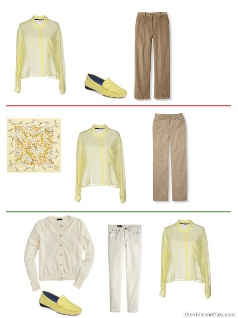 3 outfits with a butter yellow shirt