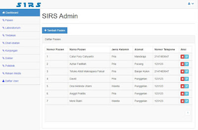 Data Pasien - Source Code Sistem Informasi Rumah Sakit Berbasis Web Gratis