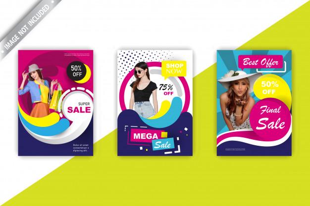 Fashion sales flyer set Free Vector
